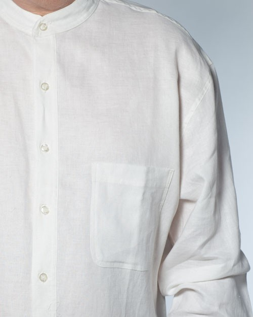 Long Sleeve 100 Linen Shirts W Banded Collar The