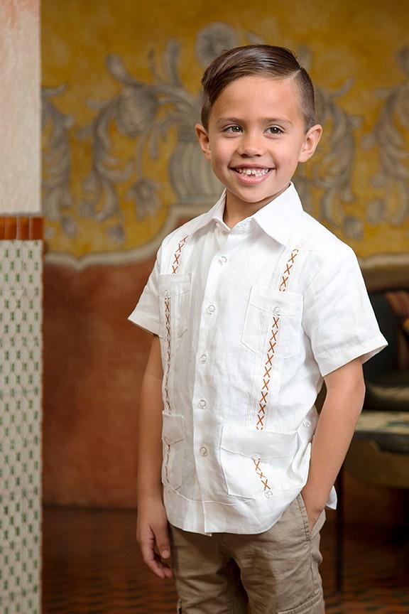 kids short sleeve classic x linen guayabera burnt orange