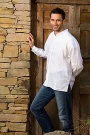 Long Sleeve 100% Linen Shirts w/banded collar - FLAT HEM