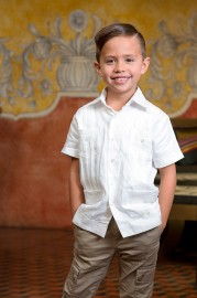 Kids Short Sleeve Classic X Linen Guayabera - White X