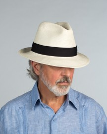 Traditional Snap Brim Panama Hat in Bleached White from Scalia